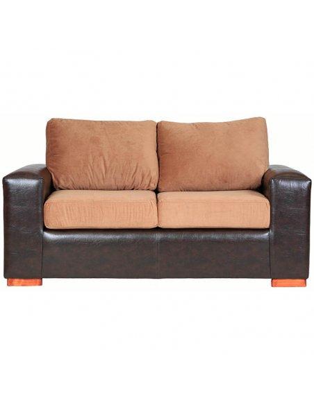sofá 2 cuerpos Bi color pu Café felpa tostado