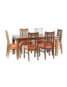 Comedor Leyda 6 sillas Color Nogal Tapiz Canela